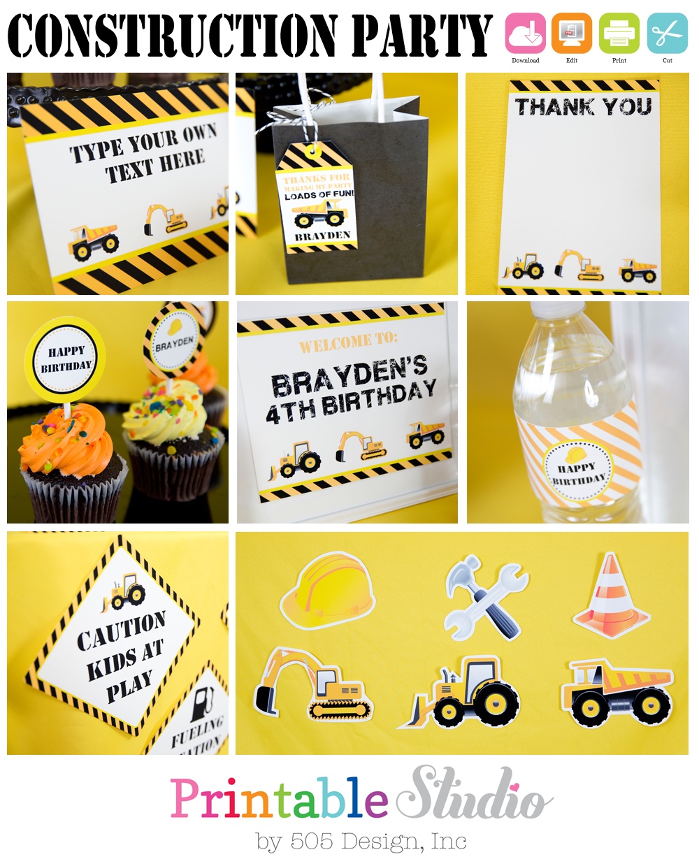 This is an image of Witty Construction Party Printables