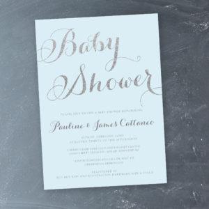 Blue Silver Baby SHower Invitation