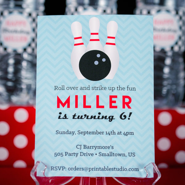 Printable Bowling Party Decorations And Invitation