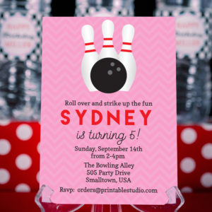 Bowling Invitation Pink Red