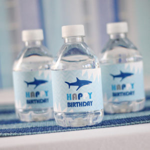 Shark party Drink Labels
