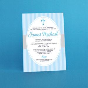 Light BLue First Communion Invitation