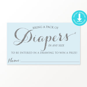Blue and Silver Diaper Raffle Ticket