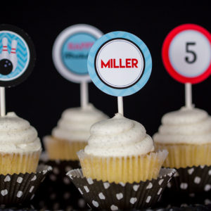 Bowling Party Printable Cupcake Toppers