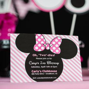 Light Pink Minnie Mouse Invitation