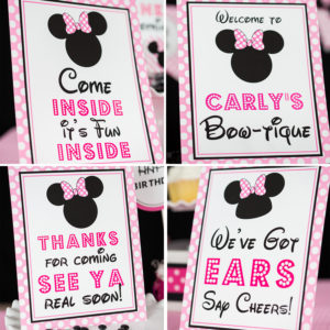 Minnie Mouse Party Signs