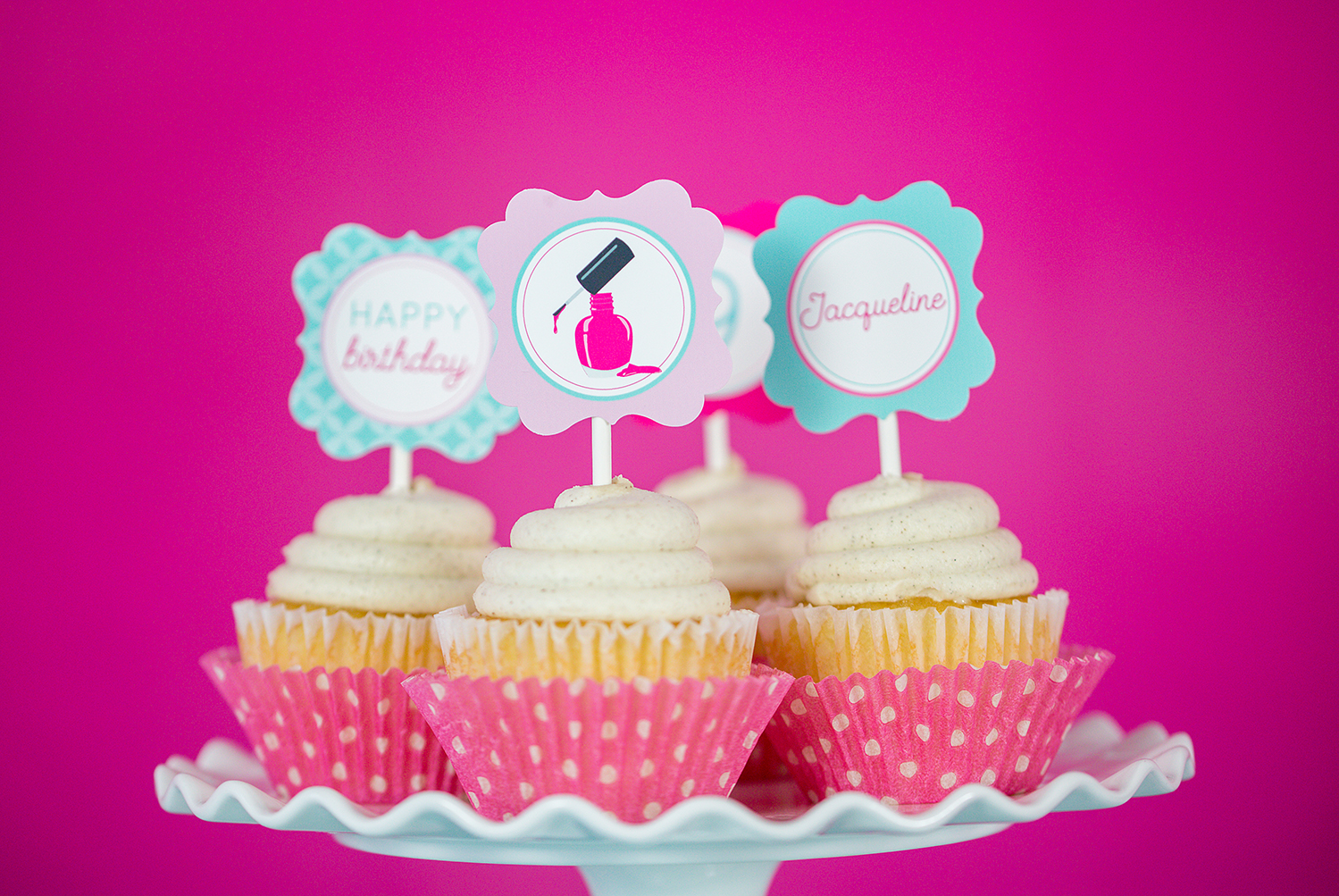 Printable Spa Party Cupcake Topper