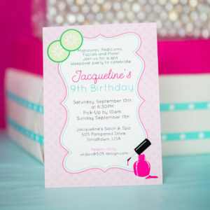 Spa Party Invitation in Pink