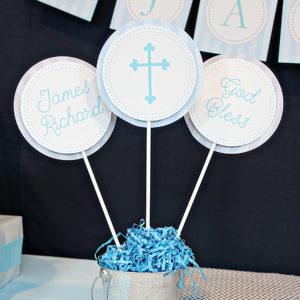 Blue God Bless Centerpiece