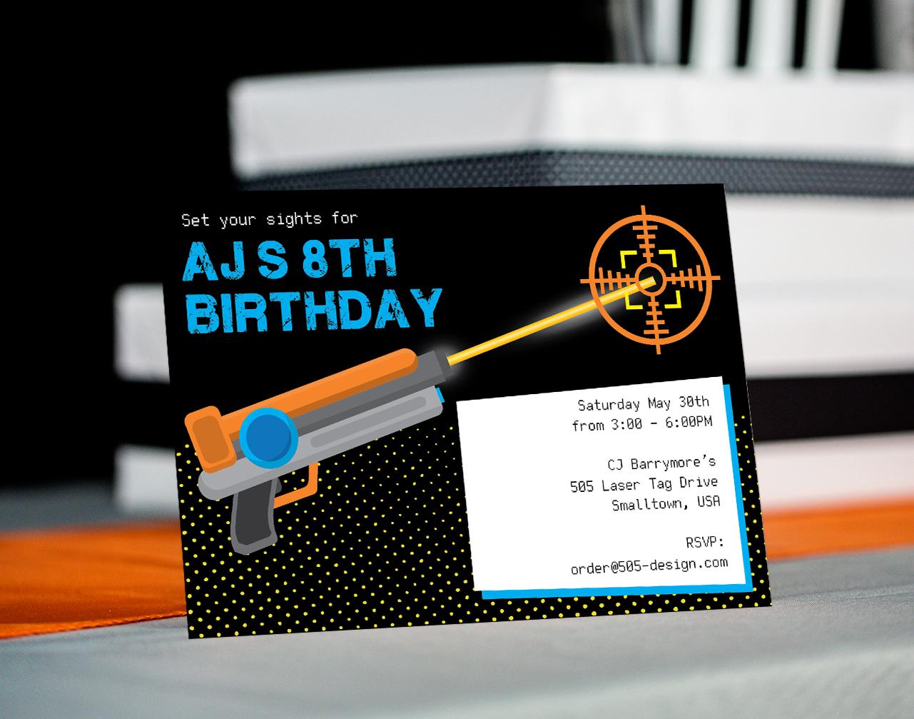Laser Tag Invitation in Blue and Orange