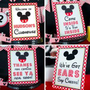 Mickey Mouse Party Signs - 4Up