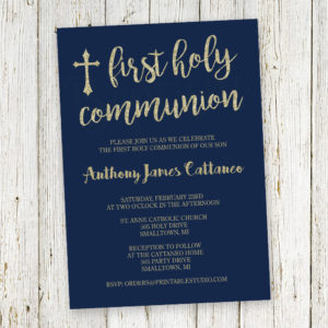 Navy Gold Communion Invitation