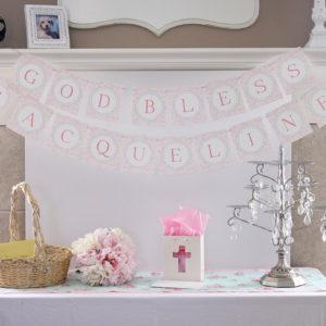 Pink God Bless Banner