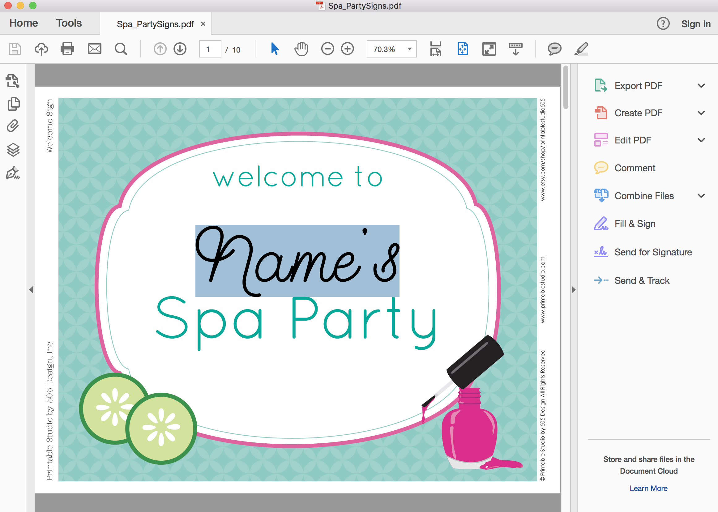 printable spa party signs 10 pages of signs