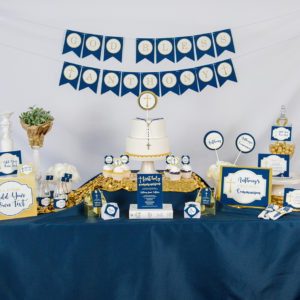 First Communion Decorations in Navy and Gold