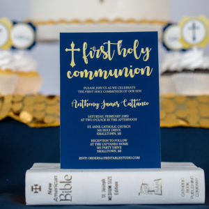 First Communion Invitation in Navy Gold