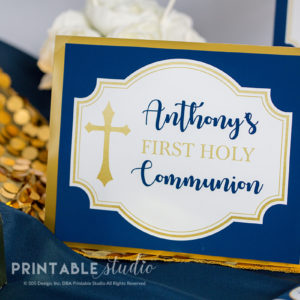 First Communion Welcome Sign Navy Gold