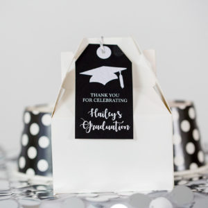 Black Silver Graduation Favor Tag