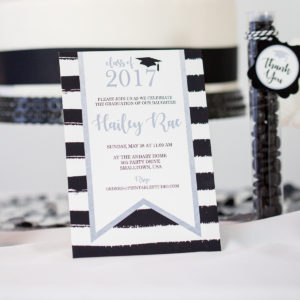Black Silver Graduation Party Invitation