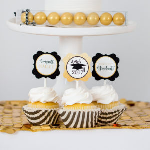 Gold Black Gradutation Cupcake Toppers