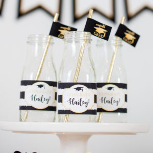 Gold Black Gradutation Drink Labels