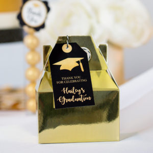 Gold Black Gradutation Favor Tags