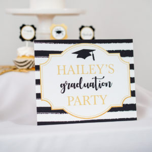 Gold Black Gradutation Welcome Sign