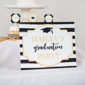 Gold Black Gradutation Welcome Sign