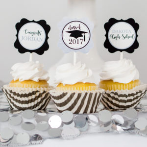 Silver Black Graduation Cupcake Toppers