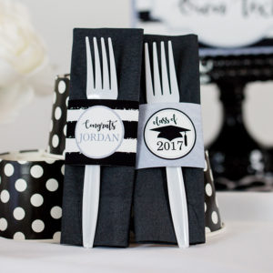 Silver Black Graduation Napkin Wrapper Sq