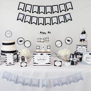 Silver Black Graduation Party Decorations