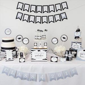 Silver Black Graduation Party Decorations