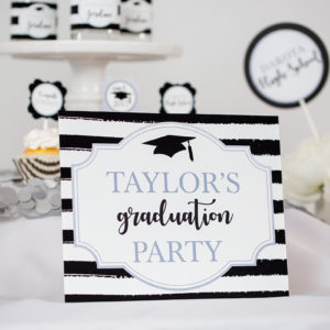 Silver Black Graduation Sign