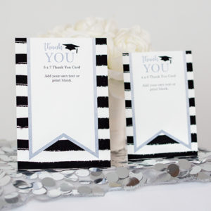 Silver Black Graduation Thank You Cards