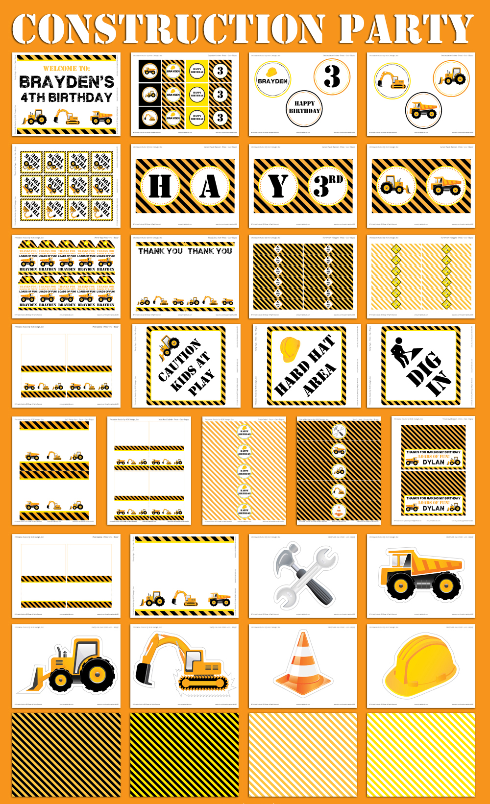 Construction Party Printable And Invitation Set