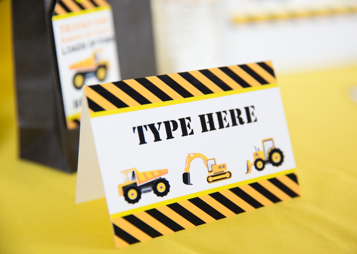 image about Free Printable Construction Party Signs titled Composition Occasion Foodstuff Labels