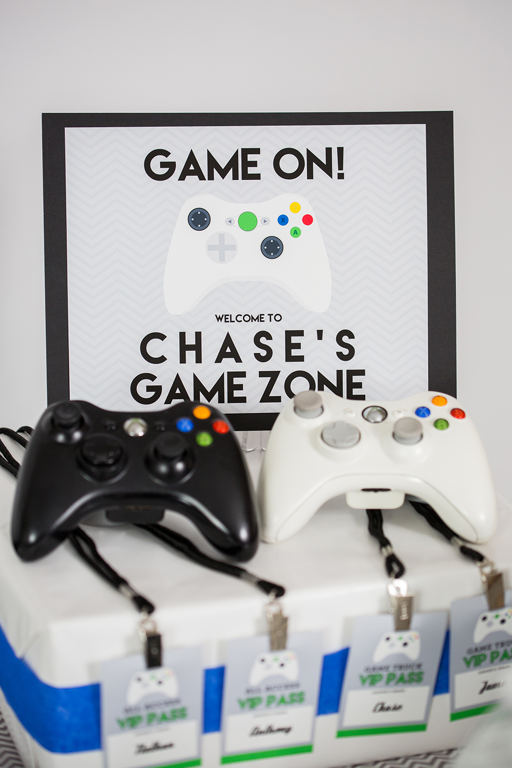 video game party printable and invitation set with white