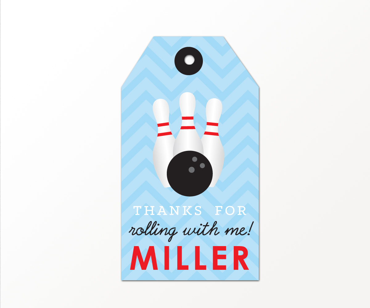 Bowling Party Favor Tags In Blue Printable Studio