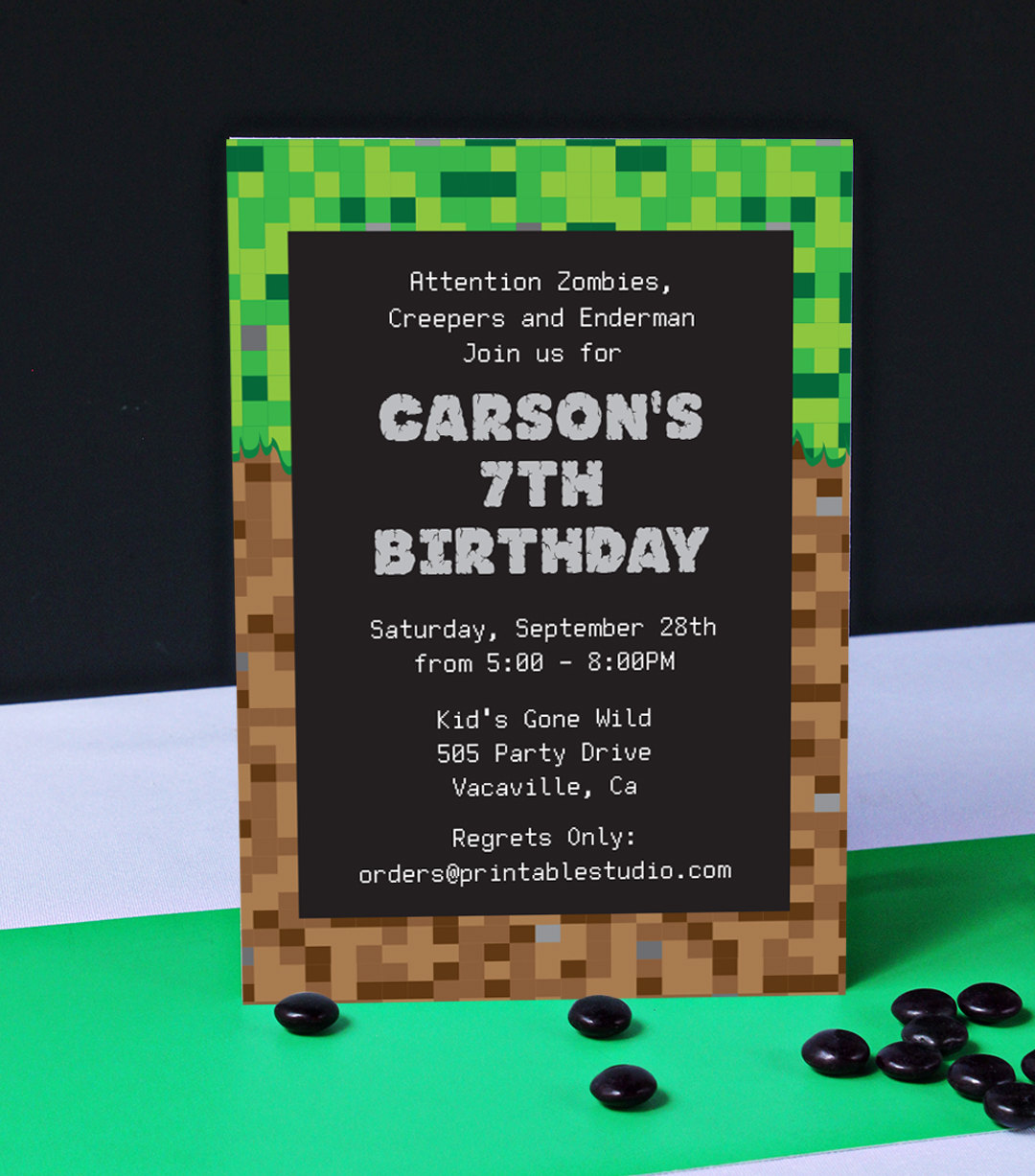 picture about Minecraft Birthday Invitations Printable called Minecraft Influenced Birthday Social gathering Invitation