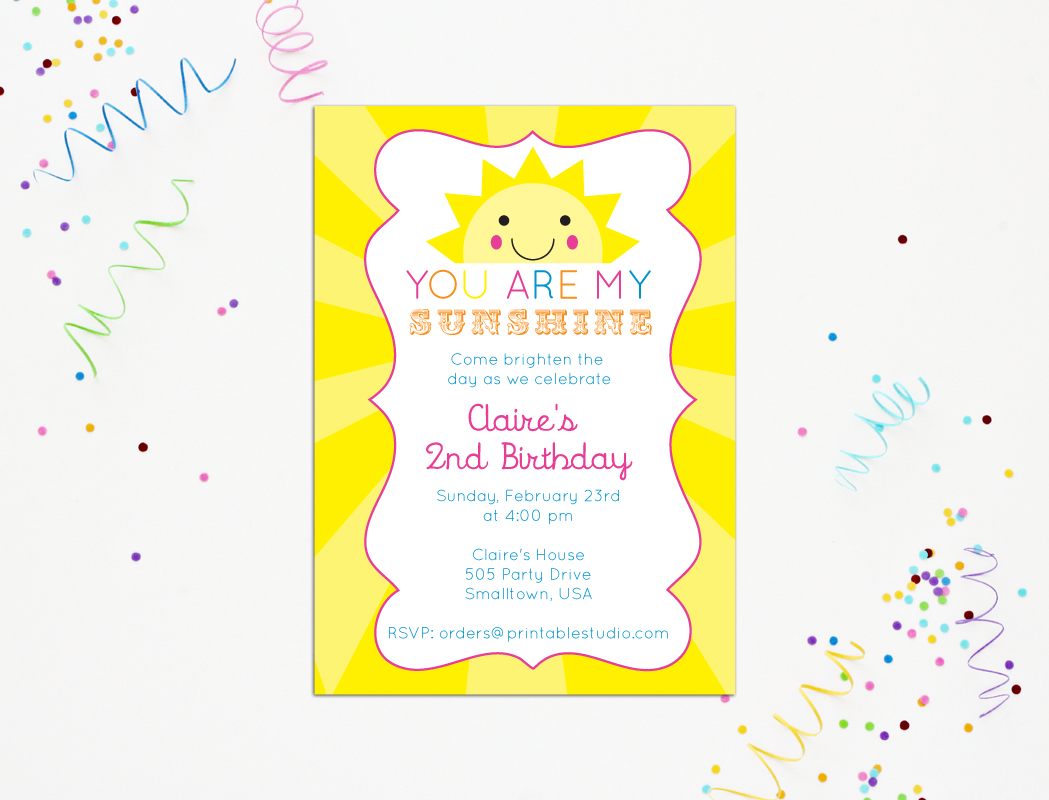 image regarding You Are My Sunshine Printable referred to as Your self Are My Sun Invitation