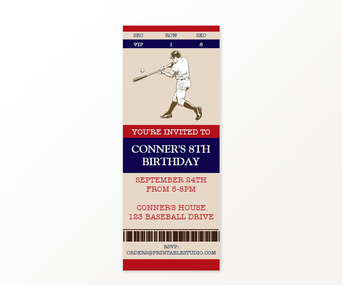 Vintage Baseball Ticket Invitation