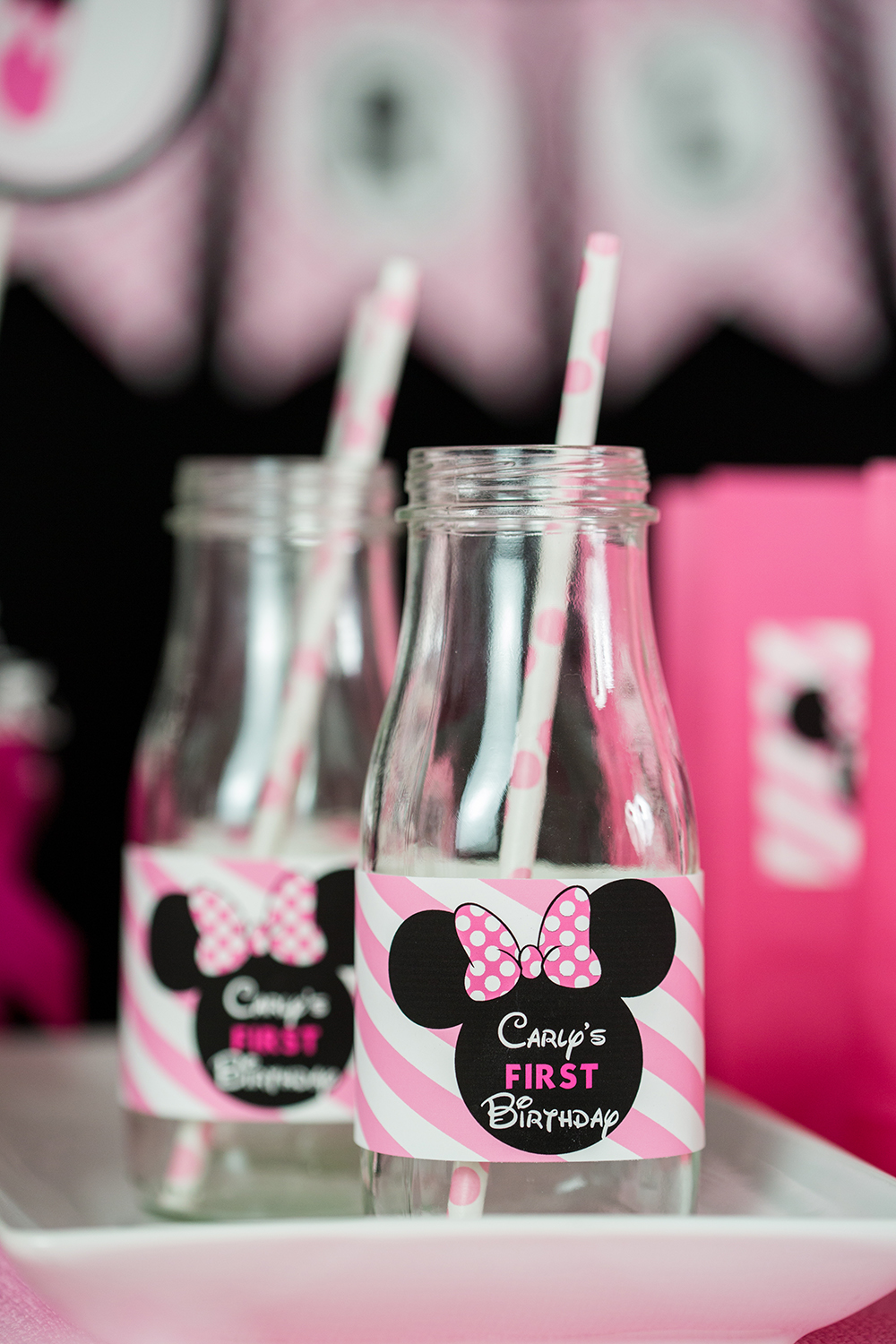 Pink Minnie Mouse Party Drink Labels