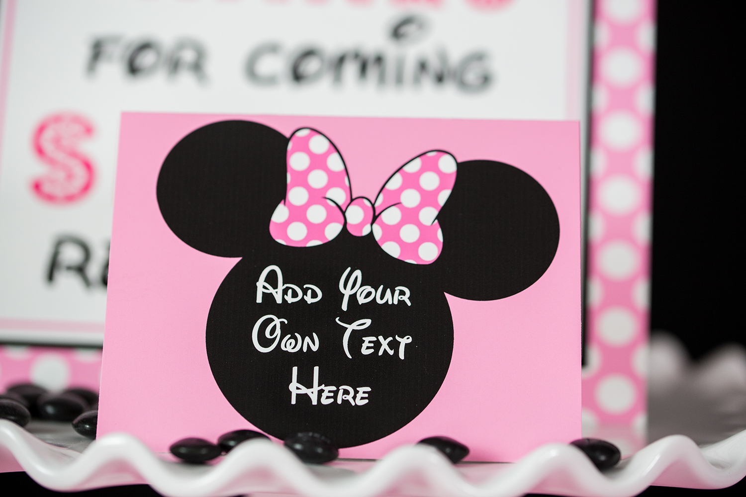 pink minnie mouse party food labels