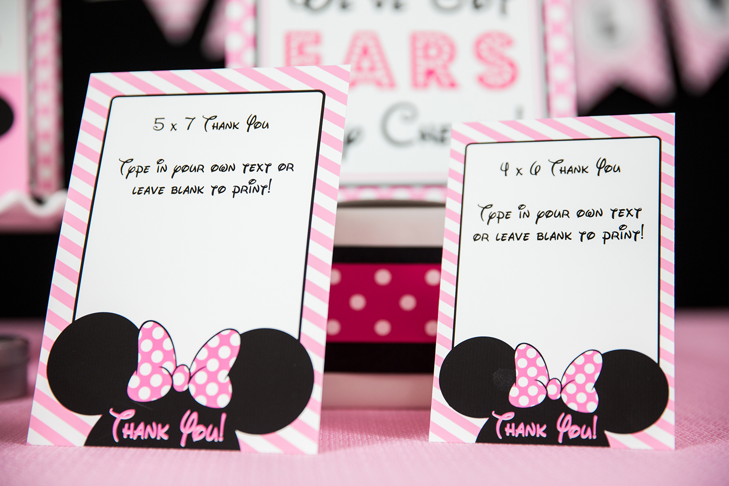 minnie mouse birthday party printables and invitation