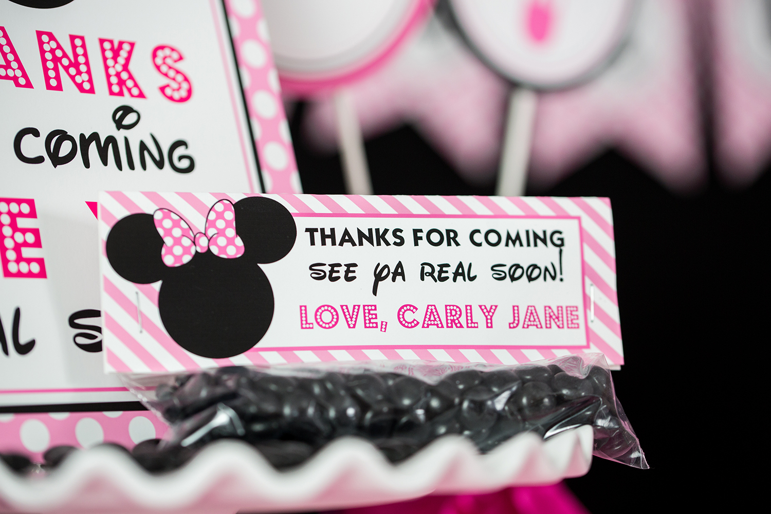 Pink Minnie Mouse Treat Bag Topper