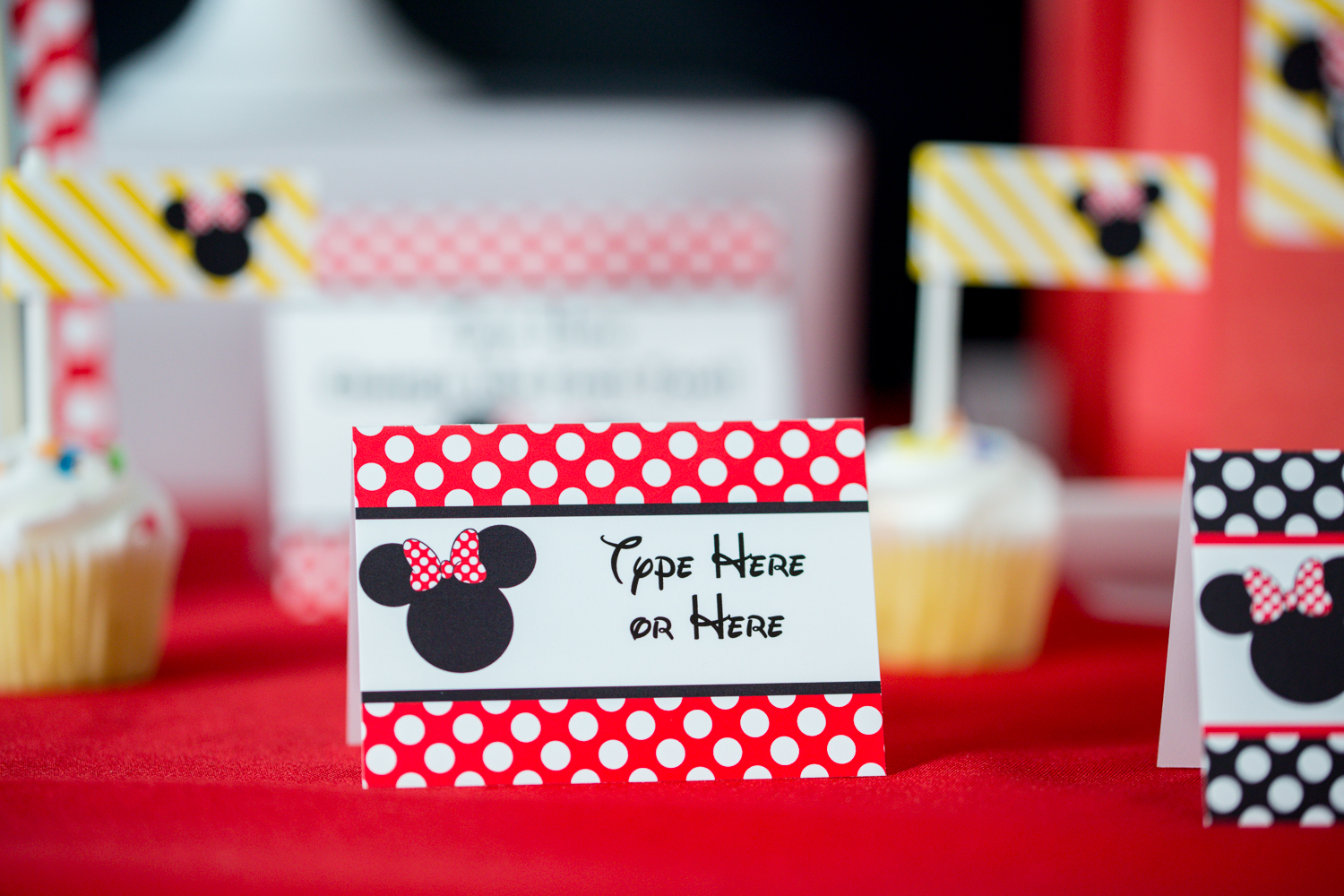 Red Minnie Mouse Party Decorations And Invitation Printable Studio