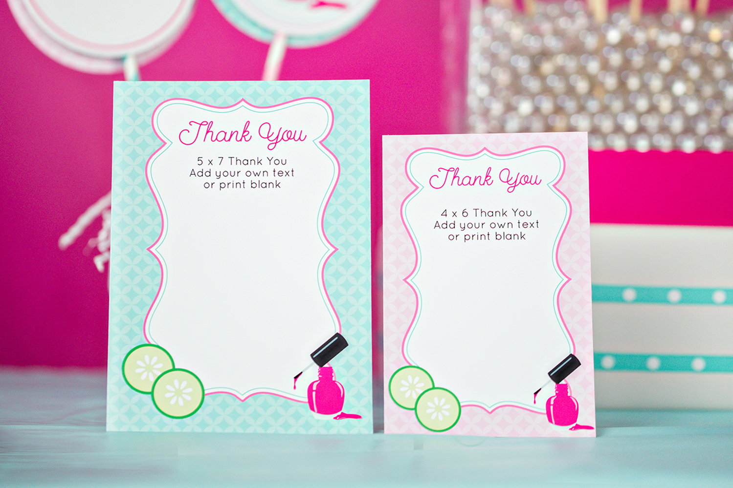printable spa party thank you cards
