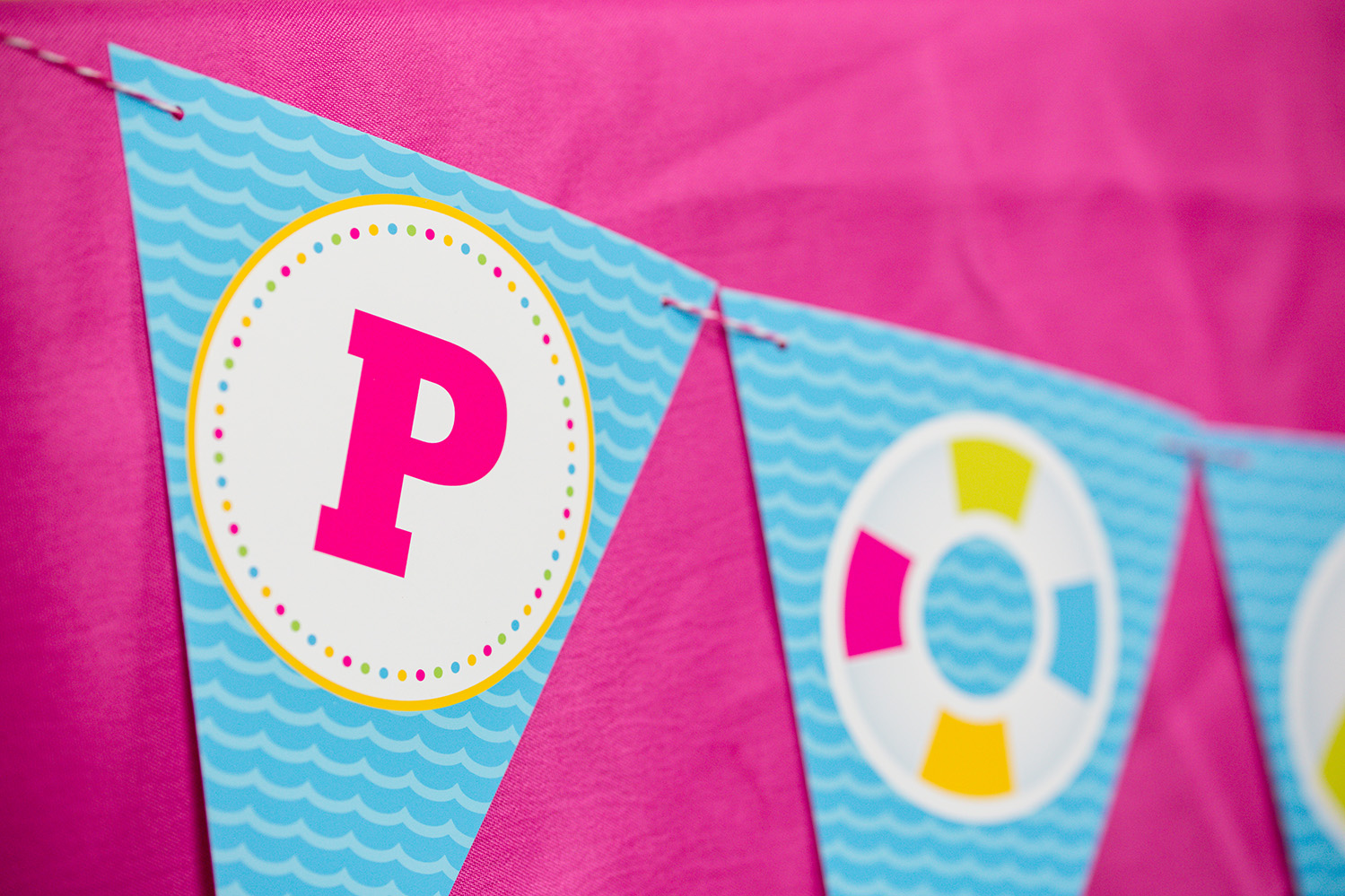 Pool Party Decorations And Invitation Set In Pink