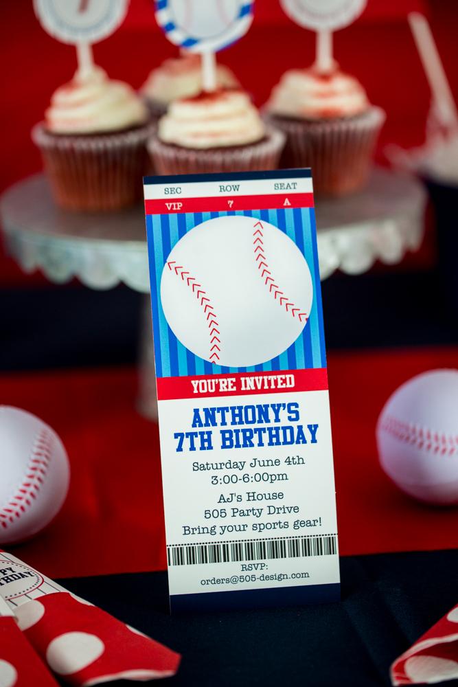 Baseball Party Ticket Style Invitation