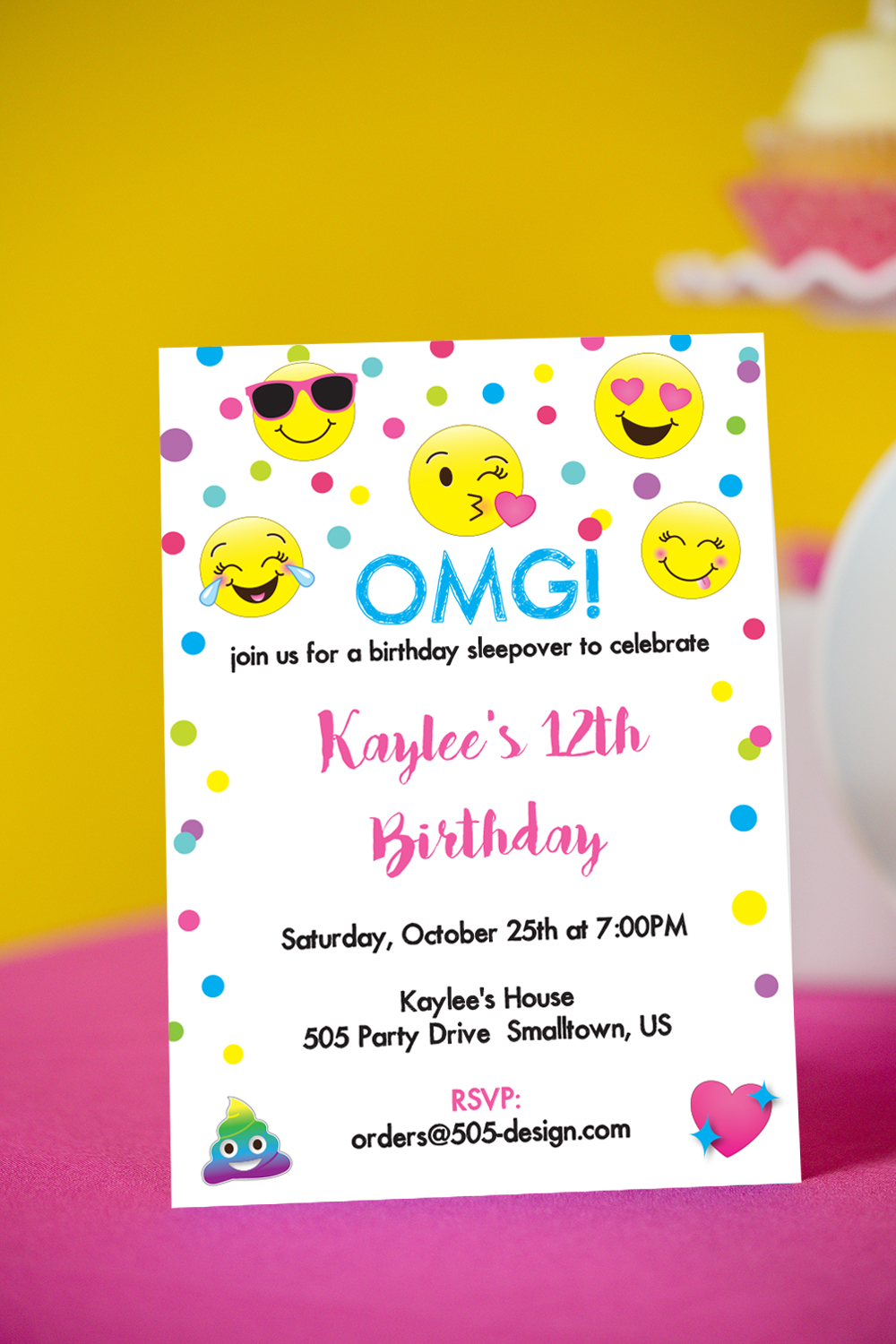 graphic about Printable Emoji Invitations called Emoji Invitation - Printable Emoji Invitation